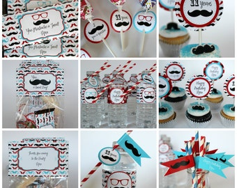 Mustache Party Kit With Editable Text, Personalized Mustache Party with Changeable Text, DIY Mustache Party, Printable Mustache Birthday Kit