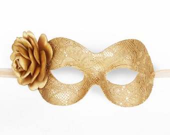 Gold Lace Masquerade Mask With Rose - Lace Covered Venetian Mask With Flower - Floral Lace Gold Masquerade Ball Mask -