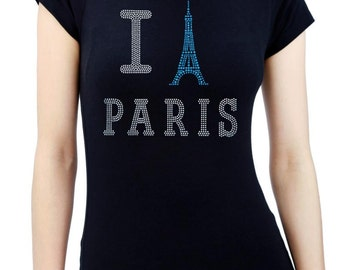 I PARIS Eiffel Tower Rhinestone/stud Womens T-Shirts Round Neck
