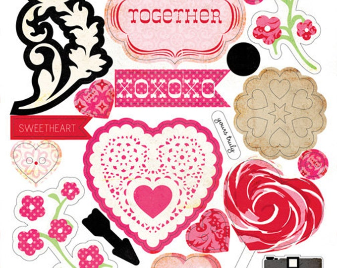 Echo Park Paper LOVE STORY Valentine's Day 6x12 Sheet of Chipboard Accents