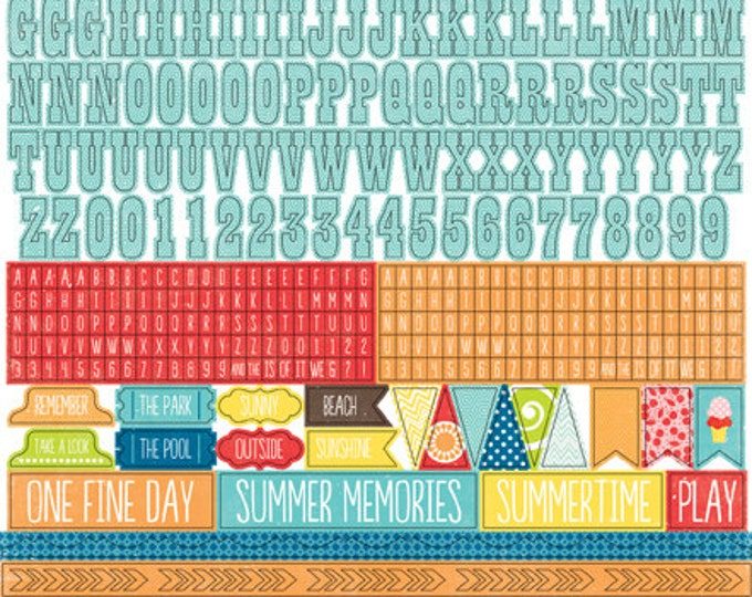 1 Sheet of Echo Park Paper A PERFECT SUMMER 12x12 Scrapbook Alpha Alphabet Stickers