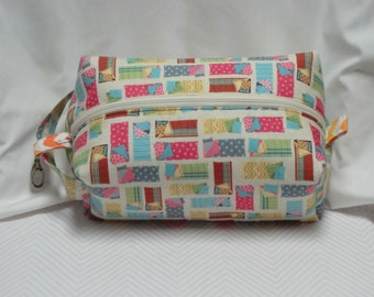Sleeping Bag Camp Glamping Boxy Knitting Crochet Project Bag, Cosmetic Pouch, Ditty bag, Makeup Toiletry Bag, Diaper bag pouch, Pet Supplies