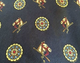 Horse Rosette Medallion Necktie, Horse Racing Riding Tie, Altimad Saf Ipek Tie, Equestrian Silk Tie, Horse Racing, Fox Hunting, Riding