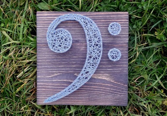 items similar to string art bass clef customizable wall hanging wooden decoration 7 8 x 7 8 on