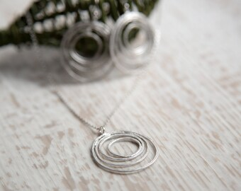 Silver Yarn-like Hooped Earrings and Necklace, Gift for Girlfriend, Gift For Her, Girlfriend Necklace