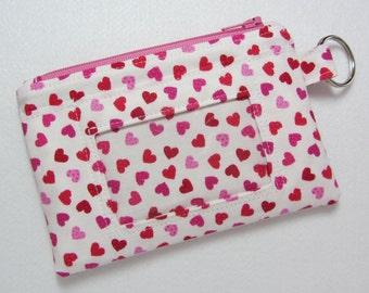 Last one!! Heart Keychain ID Wallet w/ Split Ring, Student / Teacher / Work ID, Badge Holder, Zip Pouch, Valentine, Love, Hearts