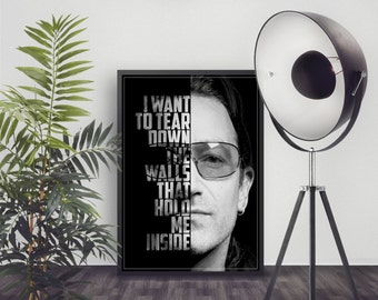 Bono Poster - U2 Lyrics - U2 Art Print - U2 Music Poster - Custom Lyric Art - Wall Art - Song Lyrics Poster - Room Decor