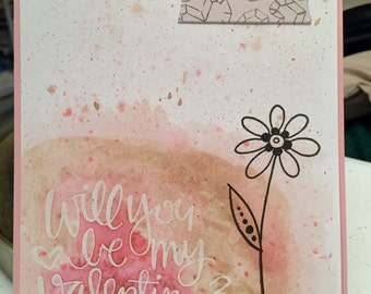 Hand made, water coloured, embossed, Valentines Day greeting card