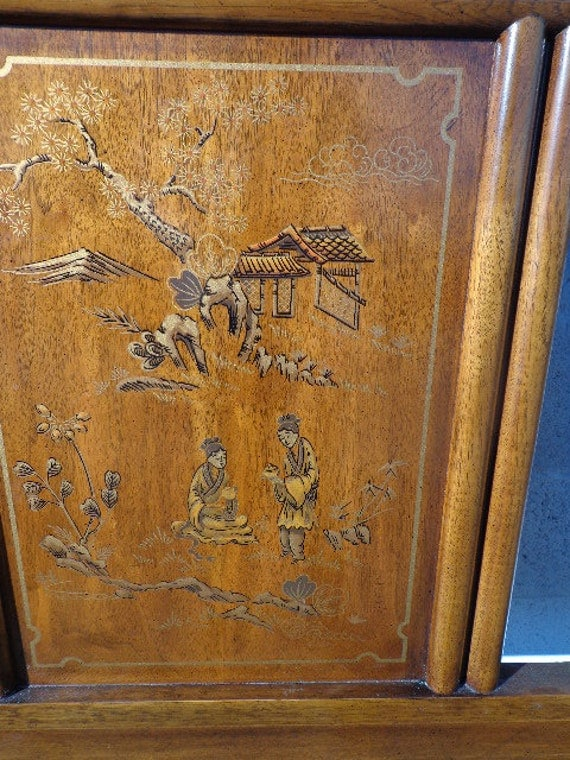 Asian Inspired Queen Size Headboard Regency Chinoiserie Drexel