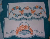 Vintage Linen Pillowcase Floral Transfer Embroidery Pattern Butterfly