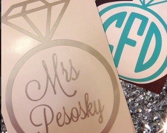Customized Engagement Ring decal, Monogram Mrs. gifts