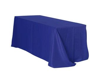 YCC Linen - 90 x 132 Inch Rectangular Polyester Tablecloth Royal Blue   Wedding Tablecloth, Rectangle Table Linens