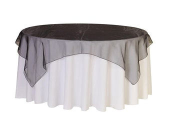 72 inch Square Organza Table Overlay Black   Wedding Table Overlays