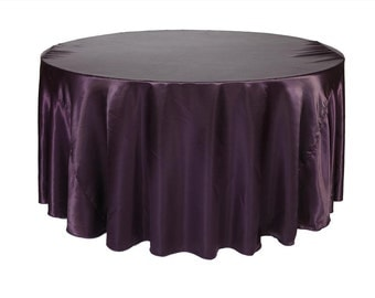 YCC Linen - 132 inch Eggplant Satin Round Tablecloth | Wedding Tablecloth