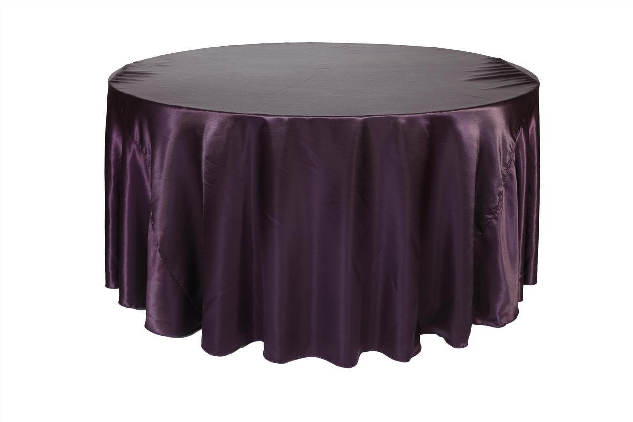 120 inch eggplant satin round tablecloth wedding tablecloths for 120 table cloth
