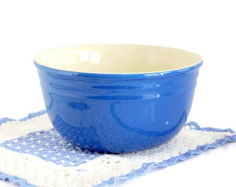 Cobalt Blue Mixing Bowl, Oxford Stoneware, Nesting 8.5 inch