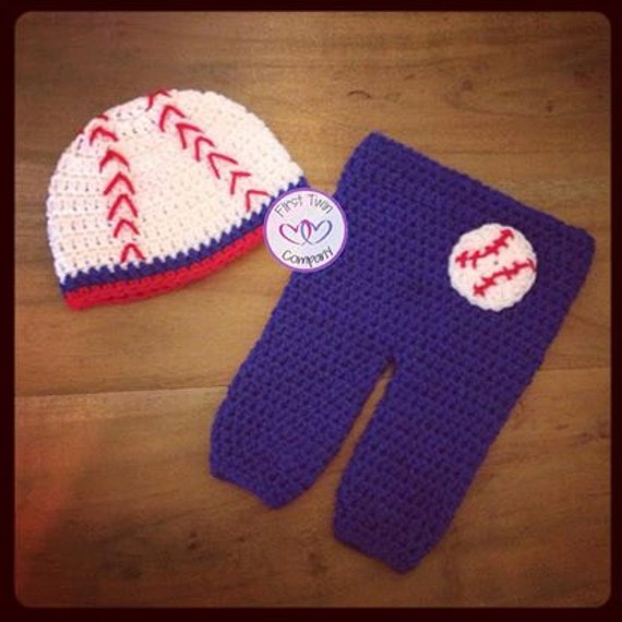 Crochet Baby Baseball Boots Pattern : Baseball Hat and Pants Newborn Photo Prop Crochet Pattern