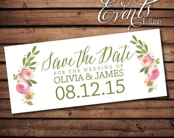Wedding Save-the-Date Sample - mixed floral garland