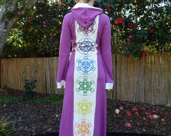 Sacred Geometry Fruit of Life Platonic Solids Hooded Magenta Robe with White trim - Visionary Wearable Art! - 100% Organic Cotton