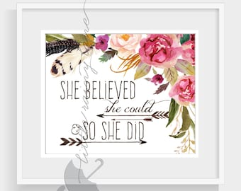she believed she could so she did - motivational wall decor - nursery decor