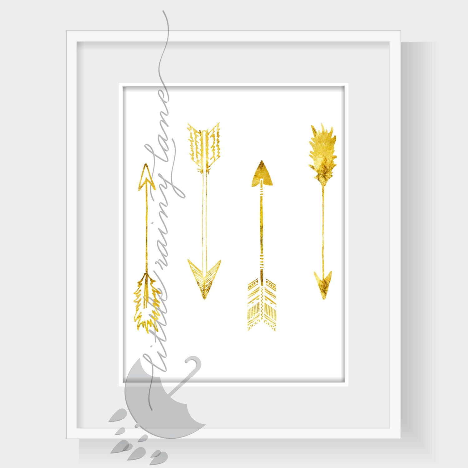 Gold Arrow Wall Decor : Nursery wall art arrow gold print faux foil