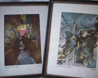 Vintage Howe Caverns Prints, Set of 2 Framed Prints,  New York, by T Hoessle