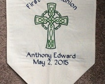 Personalized First Communion Banner with Celtic Cross