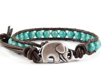 On Sale Leather Wrap Bracelet Turquoise Blue Magnesite Gemstones Elephant Clasp Beaded Jewelry