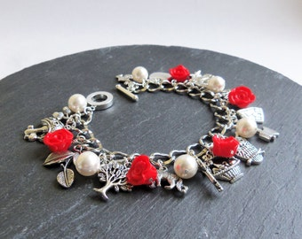 Red Riding Hood charm bracelet, red, white and silver, polymer clay roses, Swarovski pearls, pearl bracelet, Little Red Riding Hood bracelet