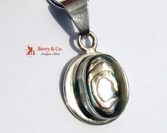 Round Pendant Abalone Shell Sterling Silver