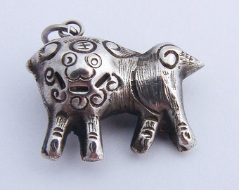 Vintage Chinese Lion Charm Sterling Silver