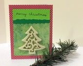 Merry Christmas Cream Tree Card with envelope