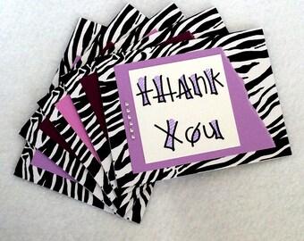 Thank You Purple Bejewled Zebra Print Cards (Blank, set of 5, with envelopes)