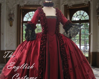 Marie Antoinette dress. Georgian taffeta evening gown.Fully boned for authentic bust lift;no corset required