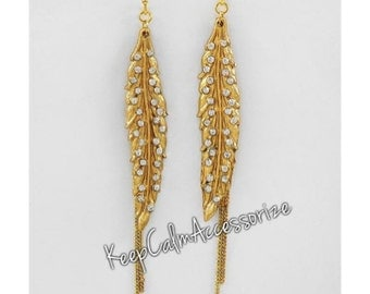 FEATHER DANGLE Earrings with RHINESTONES