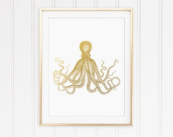 Faux Gold Foil Octopus Print. Bathroom Decor. Minimalist Wall Art. Chic Art. Sea Themed. Office Art. Modern Home Decor.