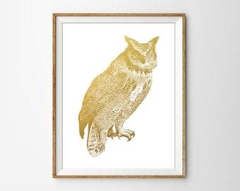 Faux Gold Foil Owl Art Print. Office Art. Modern Home Decor. Minimalist Wall Art. Chic. Trendy. Vintage Inspired. Vintage Art.