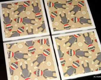 Monkey Coasters, Sock Monkey Coasters, Tile Coasters, Tile Coaster, Coaster, Coasters, Drink Coasters, Ceramic Coasters, Coaster Set of 4
