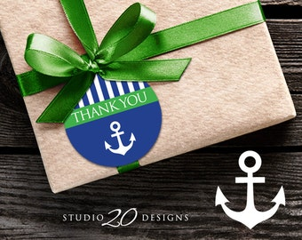 Instant Download Nautical Thank You Tags, Printable Green Anchor Gift Tags, Sailor Baby Shower Thank You Tags, Nautical Favor Tags 26B