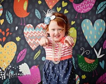 4ft x 4ft Photography Backdrop for Kids - Vinyl Photo Backdrop - Hearts and Birds Backdrop - Item 881