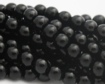 25 Czech Round Glass Beads in Jet Black - 8 mm