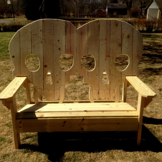 Double King Size Wooden Skull Bench Skeleton Skulls With