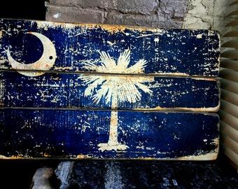 South Carolina State Flag Distressed Barn Wood Art