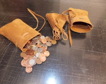 Medieval/ larp/ sca/ pagan/ re-enactment Tan leather drawstring money pouch/ jewellery bag