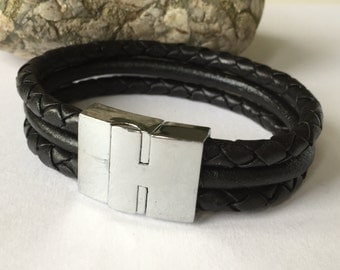 Black Braided Triple Strand Leather Bracelet with Magnetic Clasp, Leather Bangle,Silver Clasp and Black Leather,Mens Leather Bracelet