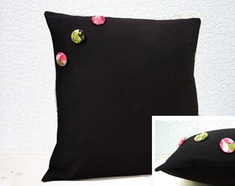 "Handmade 16""x16"" Cotton Cushion Pillow Cover Plain Black with Savannah Pink Flower Blossom & Green Fern Covered Buttons"