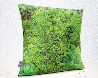 "Handmade 14""x14"" / 16""x16"" / 18""x18"" Cotton Home Decor Cushion Pillow Cover in Beautiful Forest Trees/Branches/Leaves Design Print"