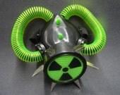 Respirator Mask Black & Green Radio Active Fluo Tubing Respirator with green plasma light