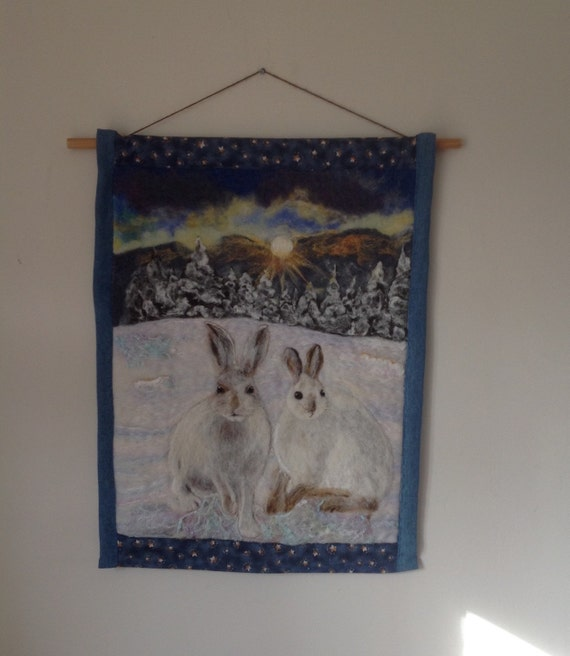 Needle Felting Wall Hanging. Two Snowshoe Hares. By Tynskis