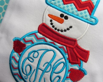 Personalized Monogrammed Appliqued Christmas Winter Chevron Snowman Holiday Shirt